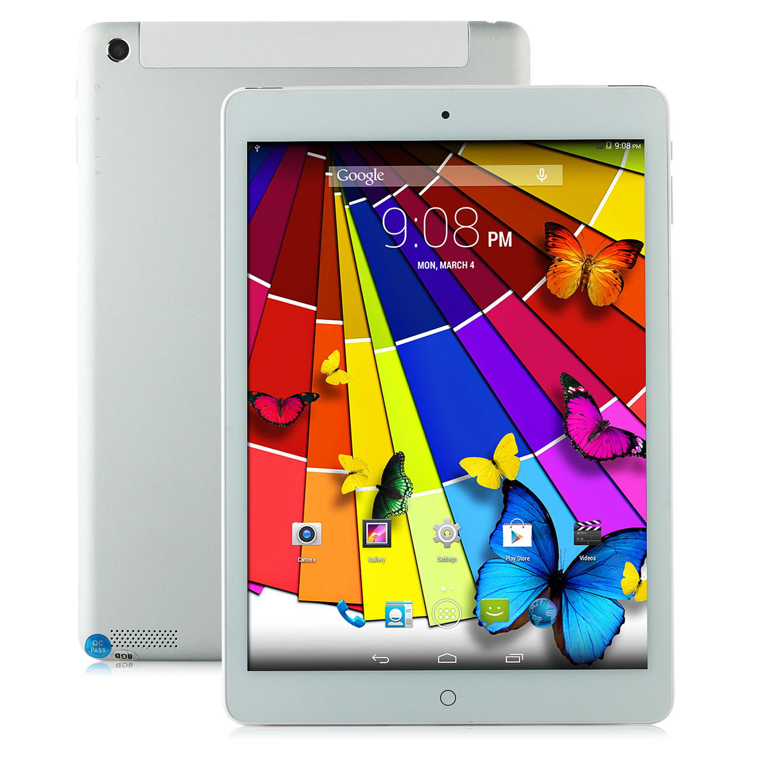 V907 3G Tablet PC MTK8382 Quad Core Android 4.4 9.7 Inch IPS HD 1GB 8GB White&Silver