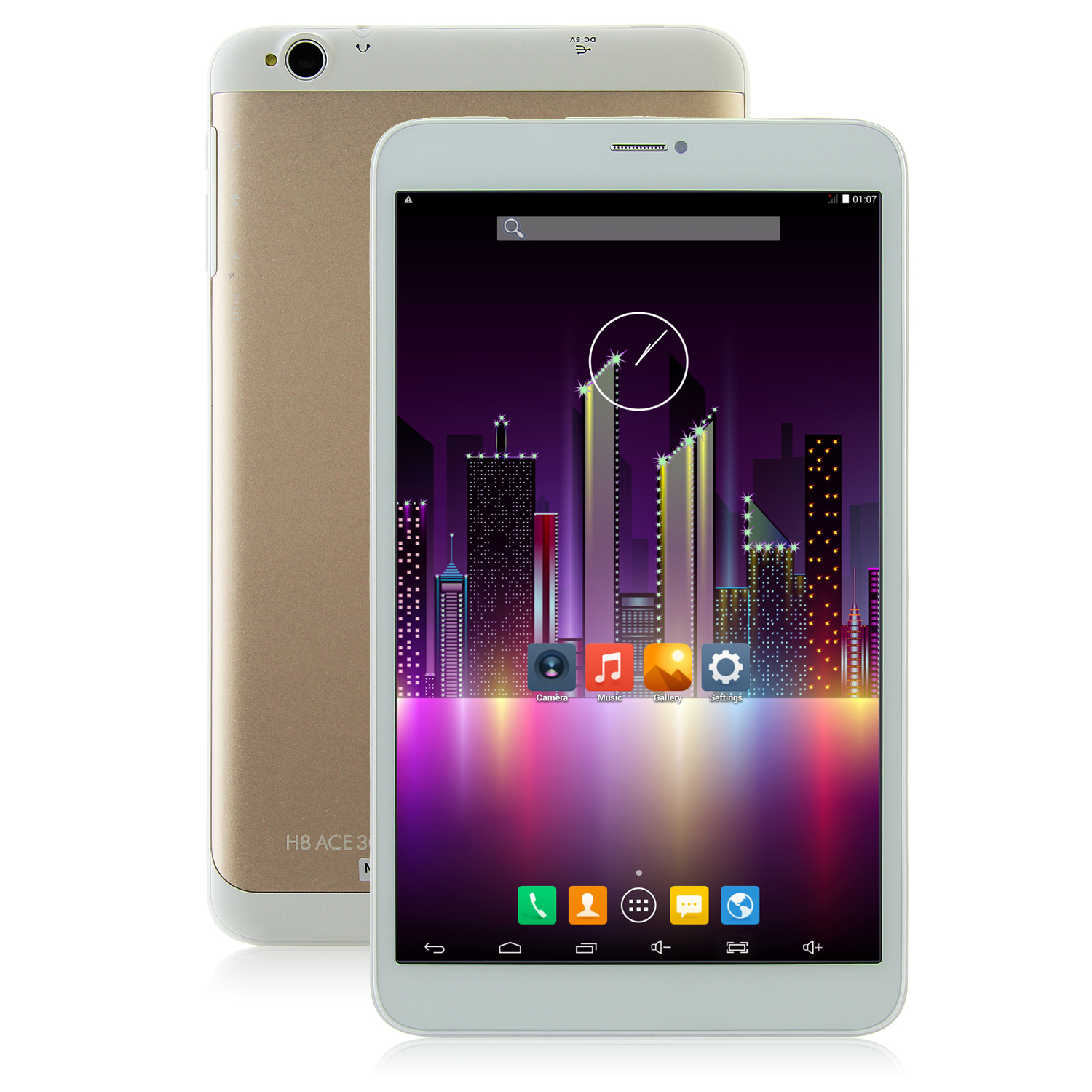 HUU 3G Tablet PC MTK8382 Quad Core Android 4.4 8.1 Inch IPS HD 1GB 8GB White&Golden