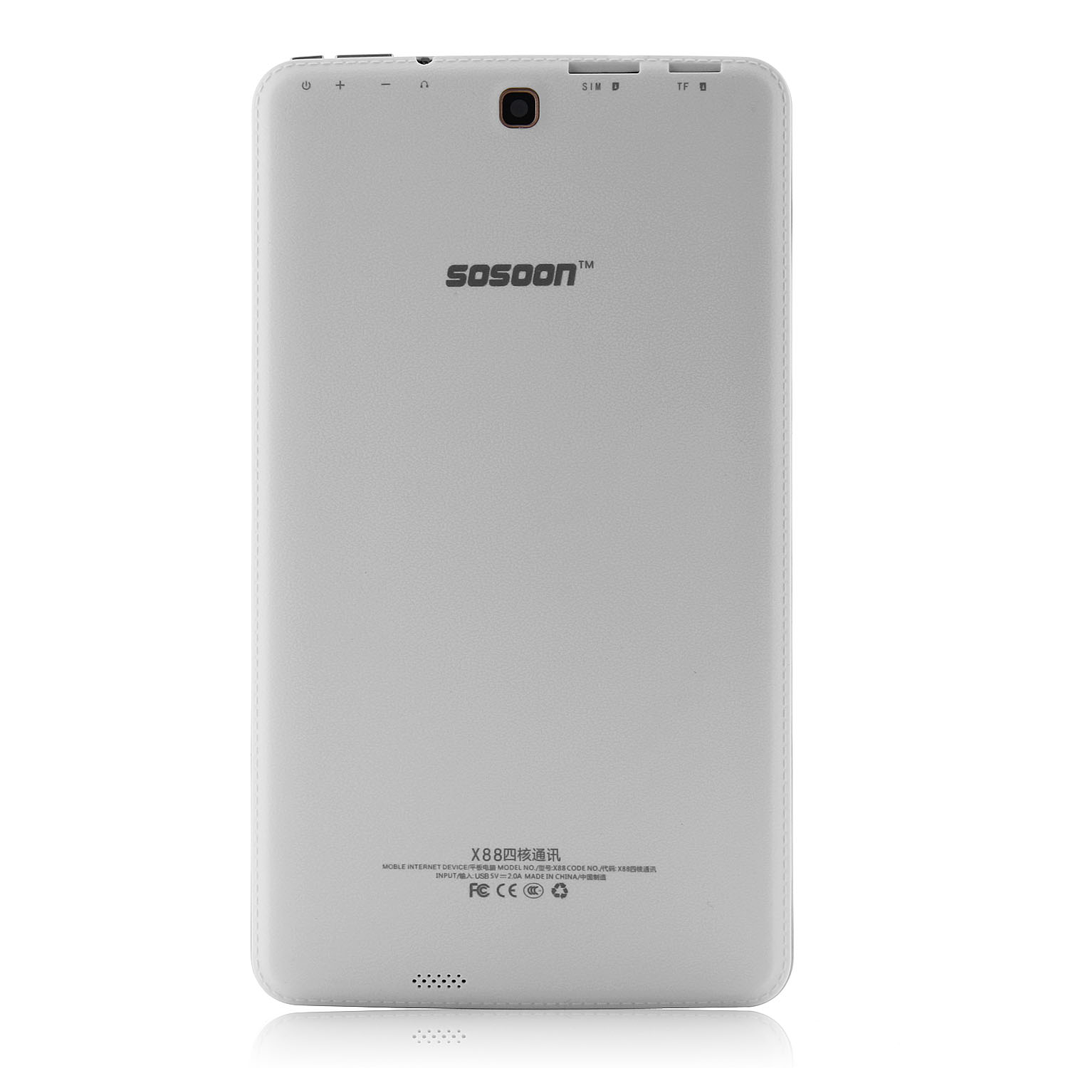 SOSOON X88 3G Tablet PC MTK8382 Quad Core 8.0 Inch Android 4.4 IPS Screen 8GB White