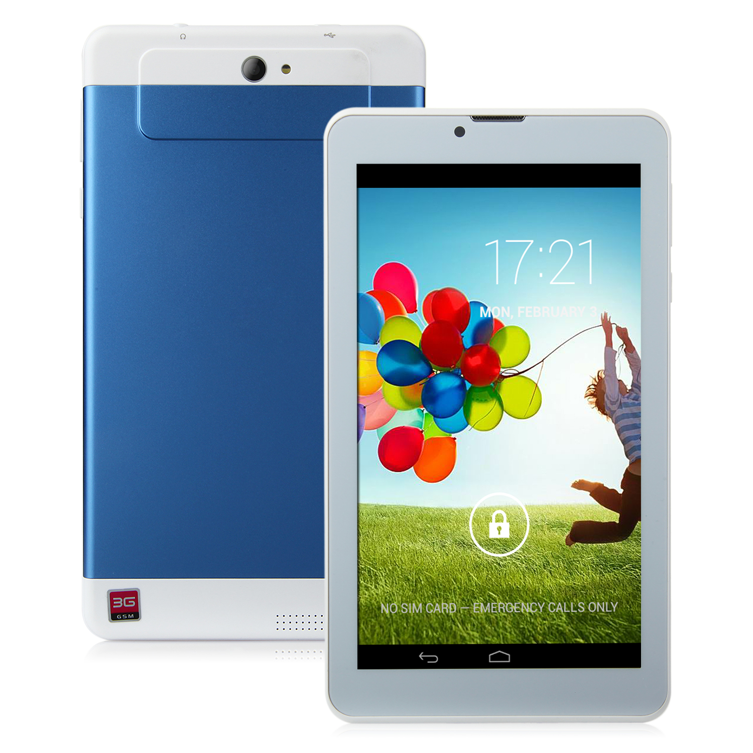 S73 3G Tablet PC 7.0 Inch Dual Core MTK6572W Android 4.2 4GB WCDMA Blue