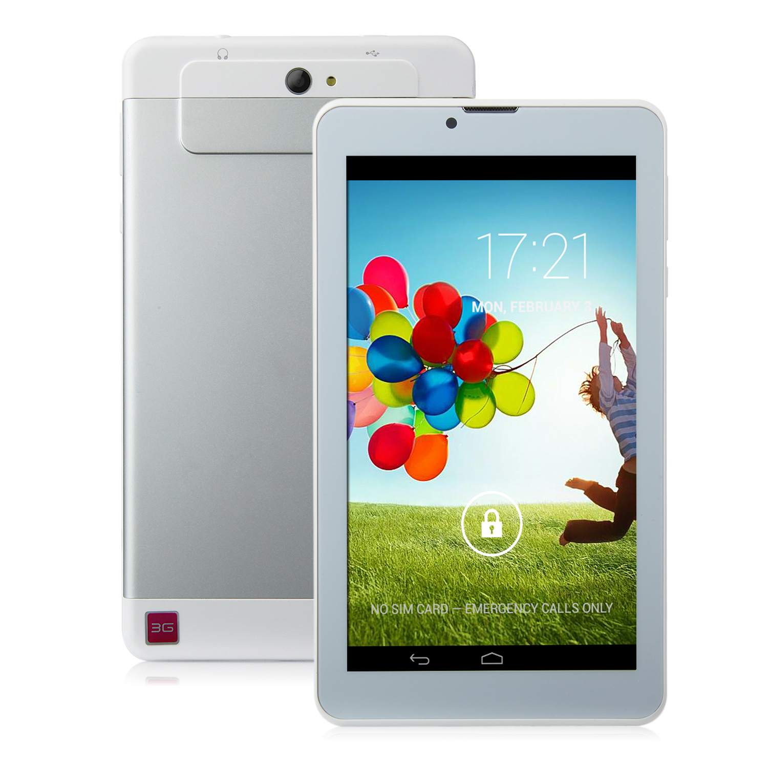 S73 3G Tablet PC 7.0 Inch Dual Core MTK6572W Android 4.2 4GB WCDMA Silver