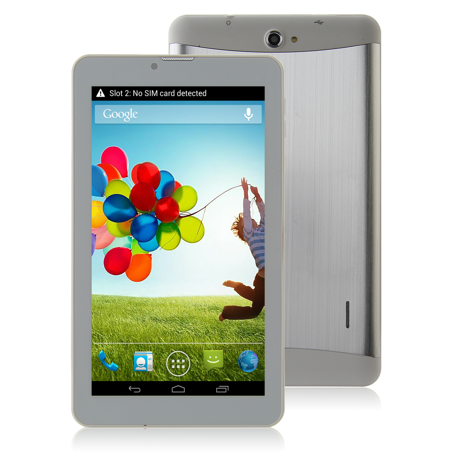 S72 3G Tablet PC 7.0 Inch Dual Core MTK6572W Android 4.2 4GB WCDMA Metal Shell Silver