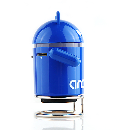 Android Robot Style Cute Mini Speaker with FM for PC/MP3/TF Card - Blue