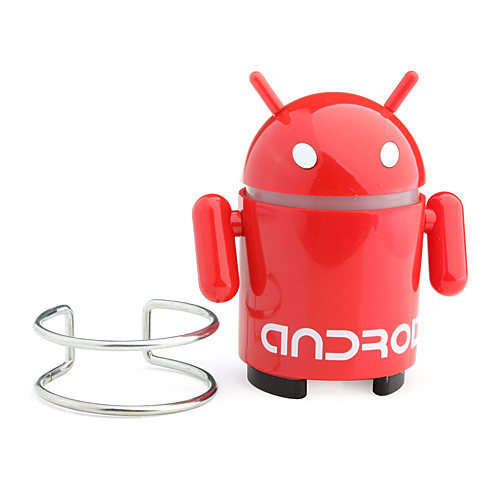 Android Robot Style Cute Mini Speaker with FM for PC/MP3/TF Card - Red