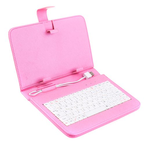 Protective Leather Case with Stand Keyboard for 7'' Tablet GPS- Pink