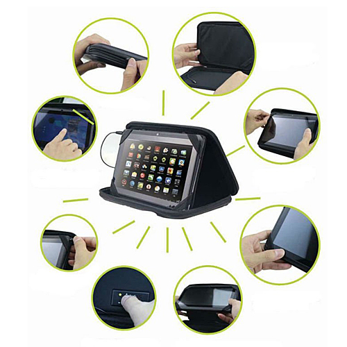 9.7 inch Universal  PU Leather Case with Speaker for Tablet PC PDA MID Color Random