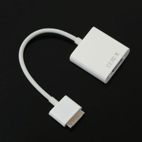 USB Male to VGA Adapter Cable White for iPad iPhone