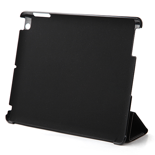 Brand New Cross Pattern Protective Magnetic Smart Leather Case Stand for iPad4 - Black