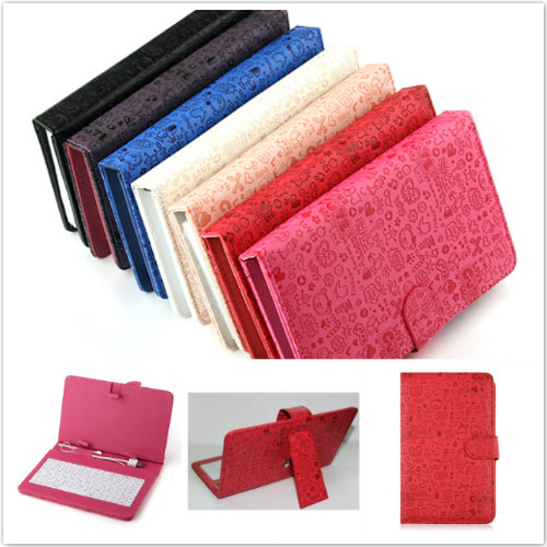 Fashion Cute Faerie Leather Stand Case USB 2.0 Keyboard for 7 Inch Tablet PC 7 Color