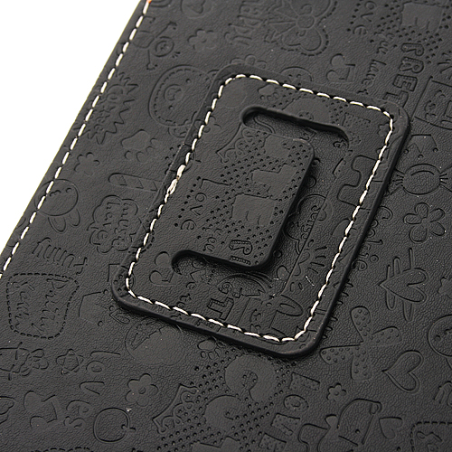 Lovely Cartoon Pattern Design Leather Case For Romos X10 Tablet Black