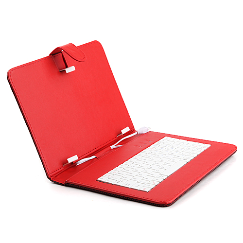 Universal Latticed Micro USB Keyboard Stand Leather Case for 9.0 inch Tablet PC