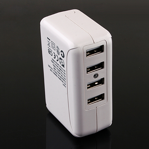4 Port USB Power Charger Travel Adapter with UK Plugs for iPad/iPhone/MP3/MP4 White