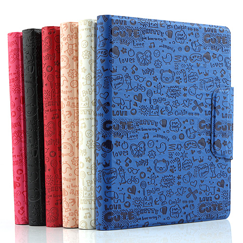 "Lovely 8"" Cartoon Pattern Double Haul Design Stand Leather Cover Case Six Color"
