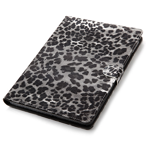 Fashion Black Leopard Luxury Folio Magnetic Closure Protective Cover Stand Leather Case for iPad Air