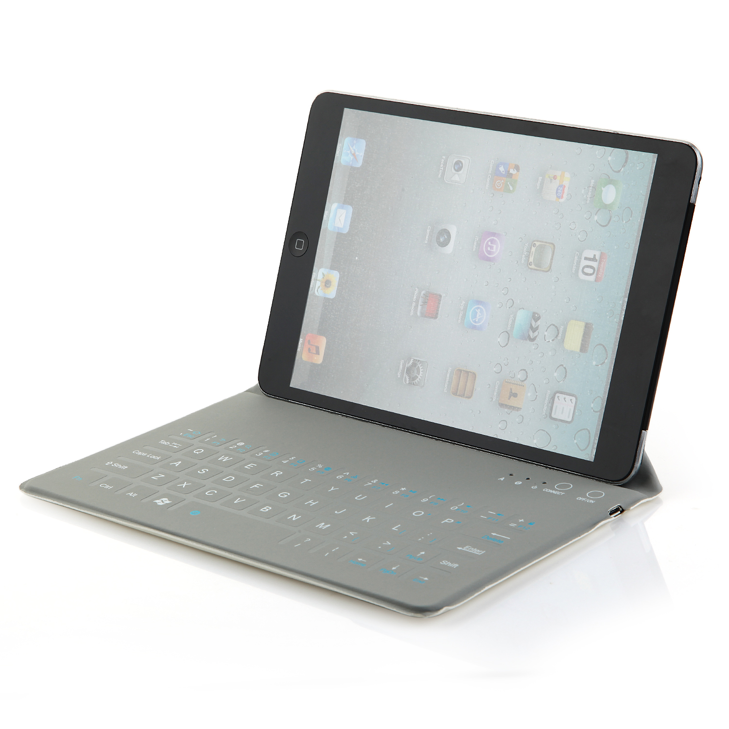 "Ultra-thin 8"" Wireless Bluetooth Keyboard QWERTY Waterproof Stand Leather Case White"