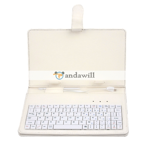Keyboard Stylus Case for 7 Inch Tablet PC White