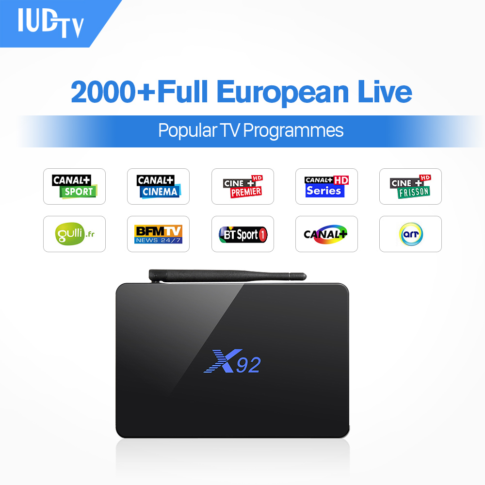 IPTV Octa Core Android Arabic BOX X92 IUDTV 1700 Europe Arabic IPTV Channels 2/16GB 3/32GB TV Box WIFI H.265 Media Player