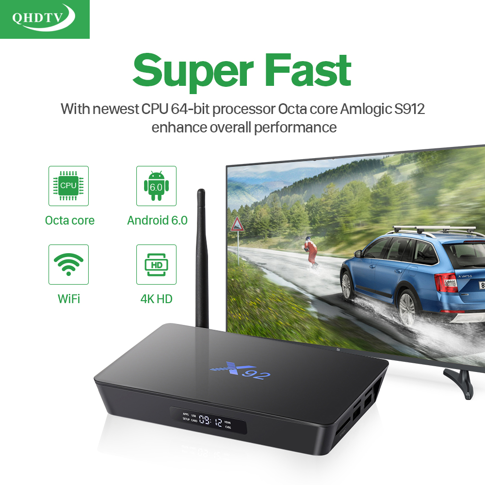 IPTV Octa Core X92 Android Arabic BOX Qhdtv 1300+ Channels included Android 6.0 TV Box Support Sport Canal Plus French Best Media Player