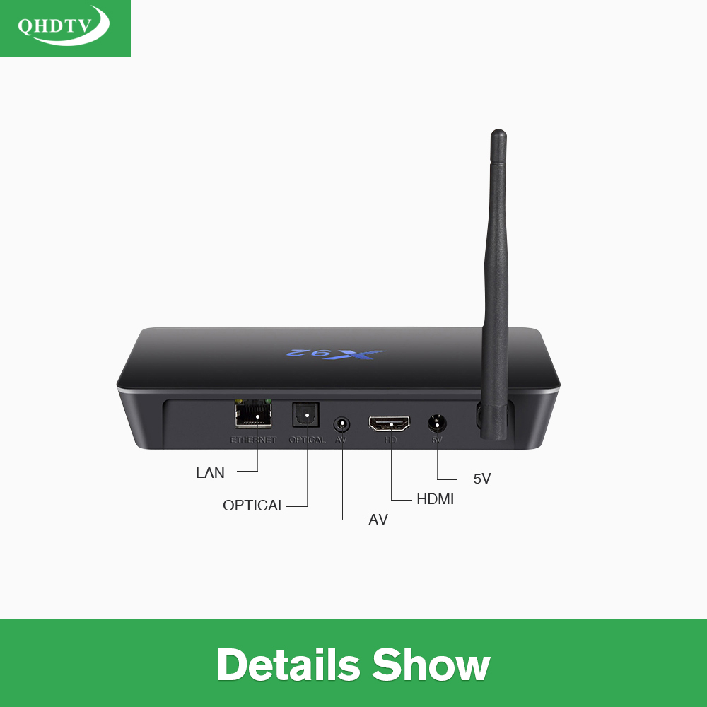 IPTV Octa Core X92 Android Arabic BOX Qhdtv 1300+ Channels included Android 7.1 TV Box Support Sport Canal Plus French Best Media Player