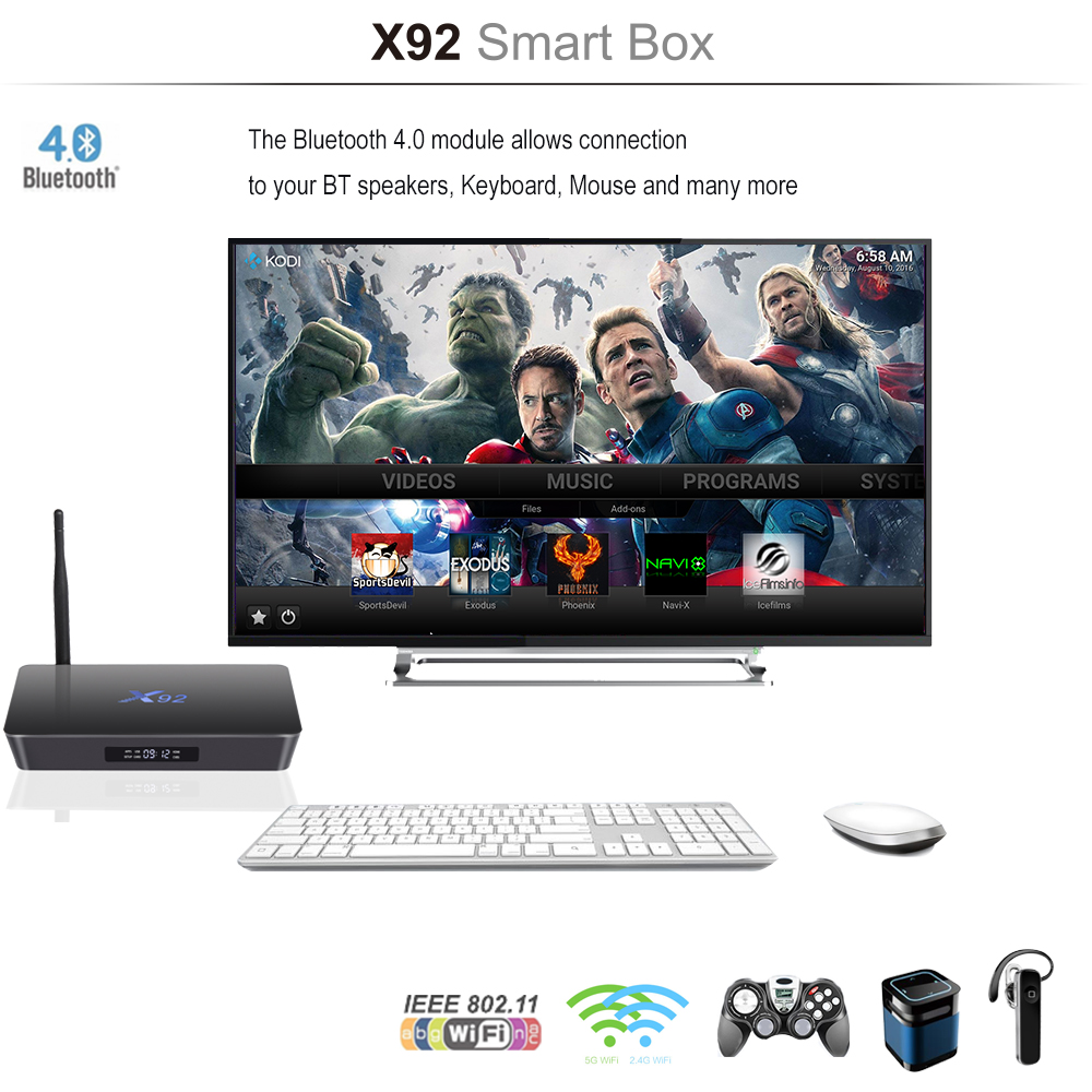 Android Smart TV Box X92 2/16G 3/32GB S912 Octa-Core 4K IPTV Set Top BOX 1000M Ethernet Dual-Band 2.4G/5G Wifi Bluetooth Supported