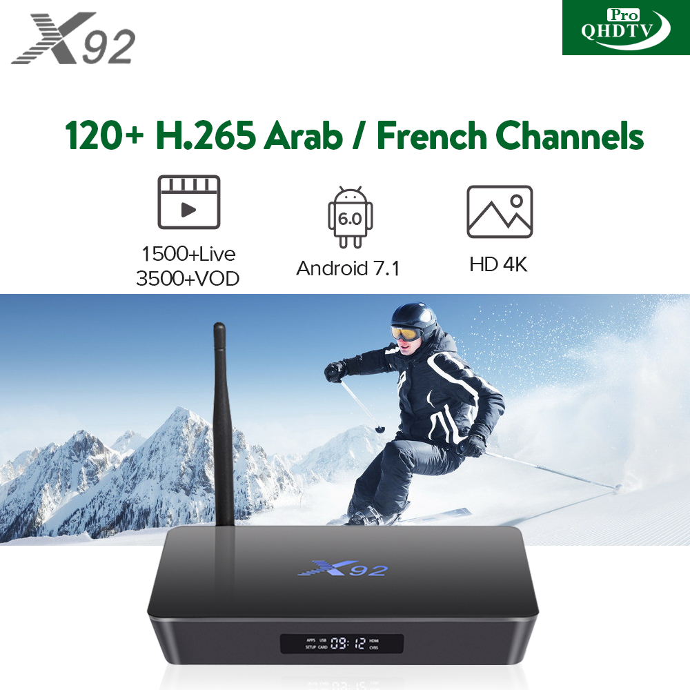 Smart IPTV Box Octa Core X92 Android 7.1 with 1 Year QHDTVPRO 1500+ Live Channels included 120+ H265 Arabic French Channels Best Media Player