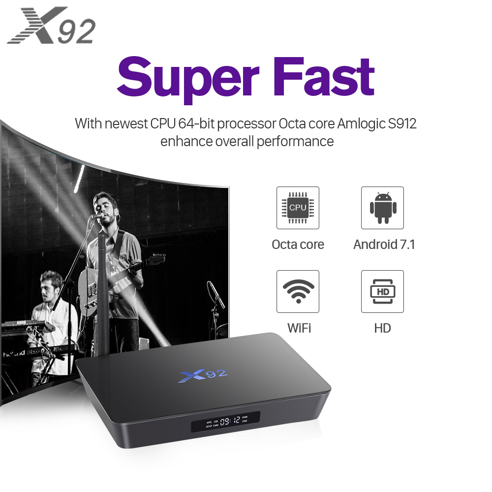Smart IPTV Box Octa Core X92 Android 7.1 with 1 Year Subtv 3400+ Channels included FULL HD French Channels European EX-YU Canadian Best Media Player