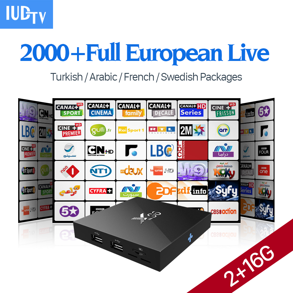 X96 Amlogic S905X 2G/16G Europe Android Set Top Box IUDTV Iptv 1700+ French Turkish Italian US Channels