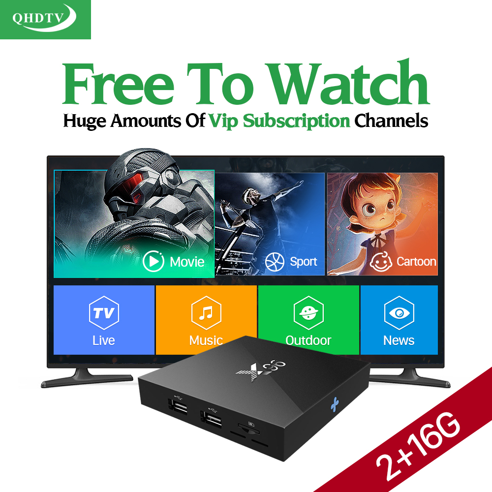 X96 Android Iptv Set Top Box 2G/16G Qhdtv 1300+ Arabic French Turkish Netherlands Portuguese Spanish Channels Best TV Box