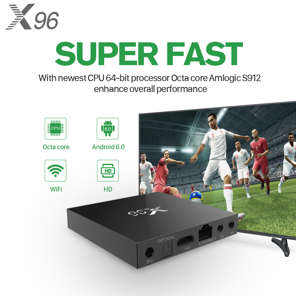 X96 Android 6.0 TV Box With 1 Year QHDTV IPTV Account 2G 16G S905X Quad Core 4K Smart TV Box  Arabic French Netherlands IPTV Channels