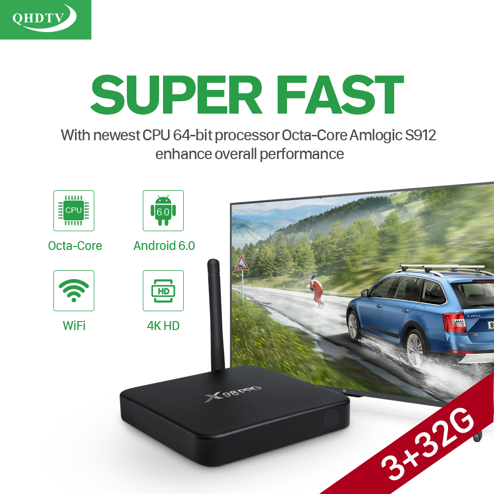 Android TV Box X98PRO 3G/32G Amlogic S912 Octa-Core Smart Iptv Box With 1 Year QHDTV 1300+ European French Arabic Channels Canel+ HD 4K Media Player