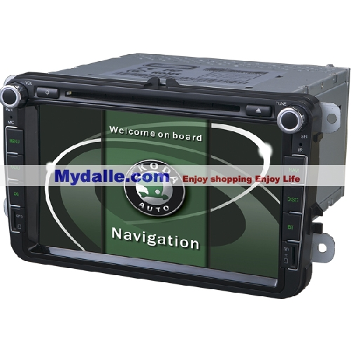 8 inch Car autoradio gps navigation system player for VW/Skoda with can bus dvd/bluetooth/radio/gps/iphone/ipod function