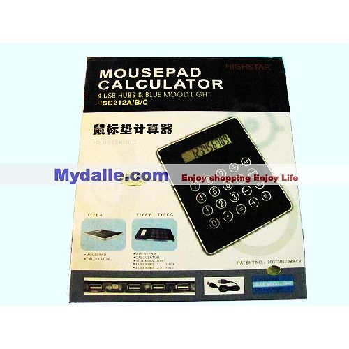 Slim Mousepad 3 Port USB HUB with Calculator For PC