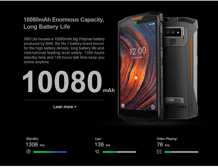 DOOGEE S80 LITE 4GB RAM 64GB ROM Helio P23 MTK6763T 2.5GHz Octa Core 5.99 Inch IPS Corning Gorilla Glass 4 FHD+ Screen Dual Camera IP68 IP69K Waterproof Android 8.1 4G LTE Smartphone