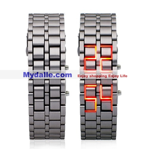 Hot Magma - Heavy Metal LED Watch with Fiery Red LEDs