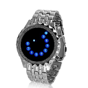 Sapphire Echo - Blue LED Mirror Watch with Metal Strap